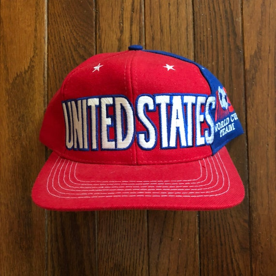 Vintage 90s World Cup United States USA Soccer Snapback Hat  7433bb6600d