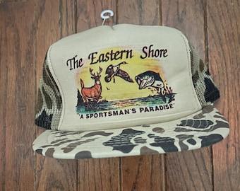 Vintage 80s 90s Camo Eastern Shore Sportsman's Paradise Mesh Trucker Hat Snapback Hat Baseball Cap