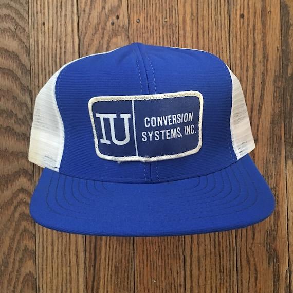 2db6651cfa6 Vintage IU Conversion Systems Mesh Trucker Hat Snapback Hat