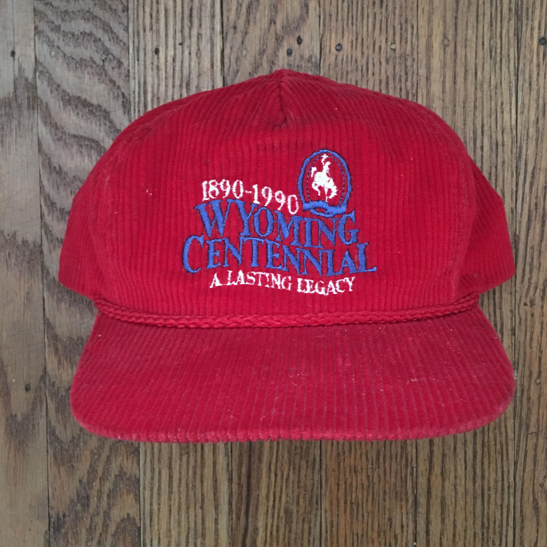3c83e9b1f9d Vintage Corduroy Wyoming Centennial Strapback Hat Baseball Cap