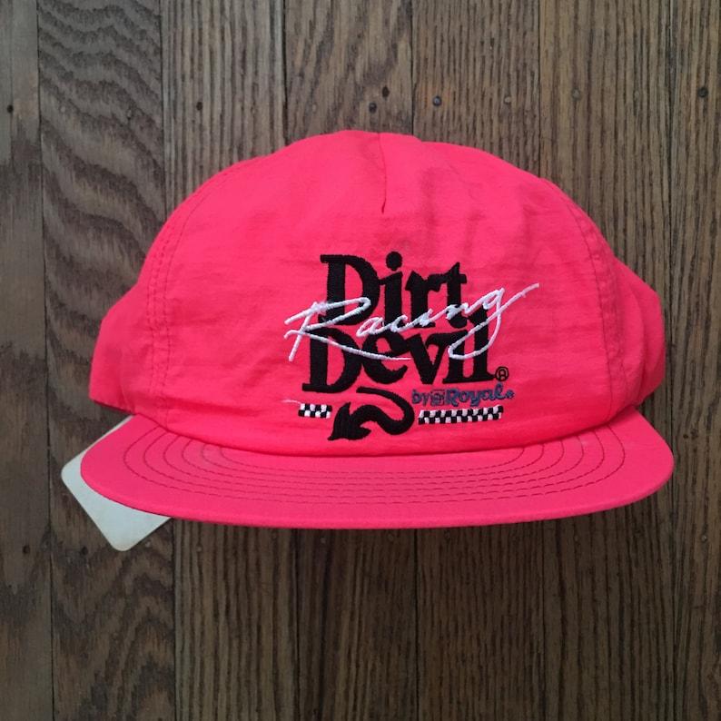 996e68e7faa531 Vintage 90s Neon Pink Dirt Devil Racing Snapback Hat Baseball   Etsy