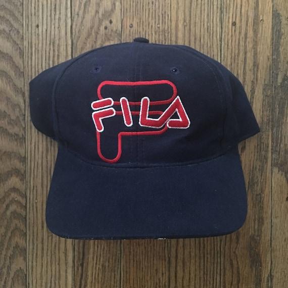 f67640aa4e1 Vintage 90s Fila Snapback Hat Baseball Cap