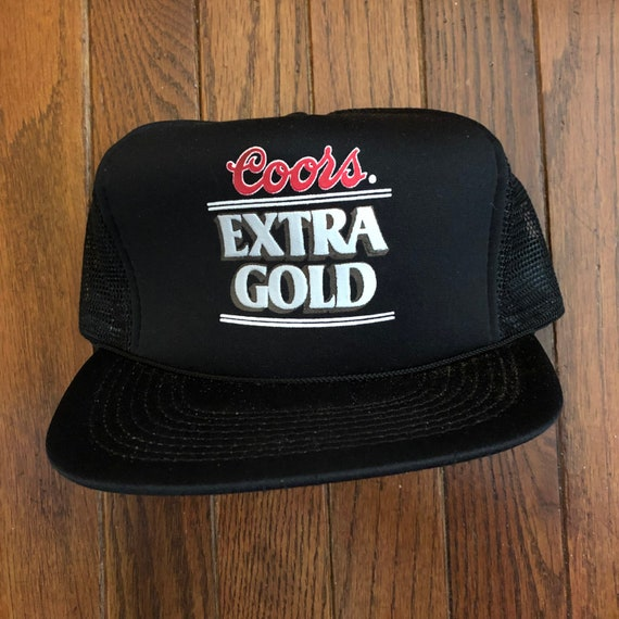 Vintage 80s 90s Coors Coors Light Beer Extra Gold Trucker Hat  2dbf9abed734