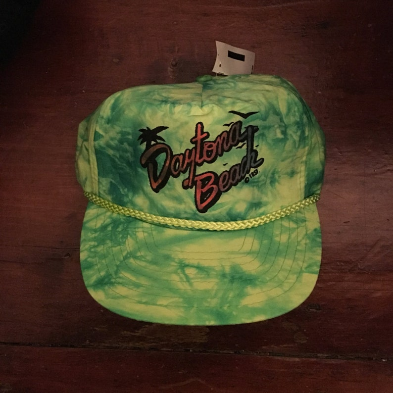 Vintage New Deadstock 90 s Neon Daytona Beach Trucker Hat  5ef8d6334cc7