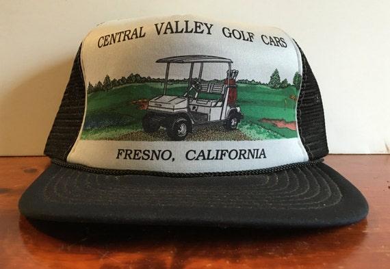 Vintage Golf Cars Carts Fresno CA Trucker Hat Snapback Baseball Cap 4a57fedabf2