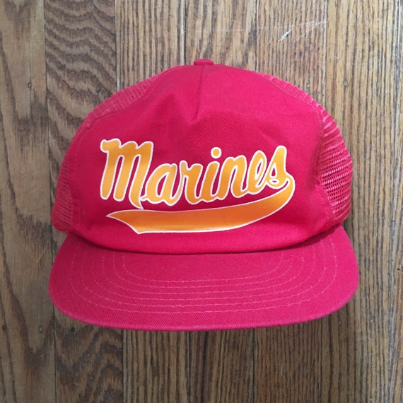 e7f08cd877f Vintage United States Marine Corps USMC Mesh Trucker Hat Snapback Hat  Baseball Cap   Made In USA