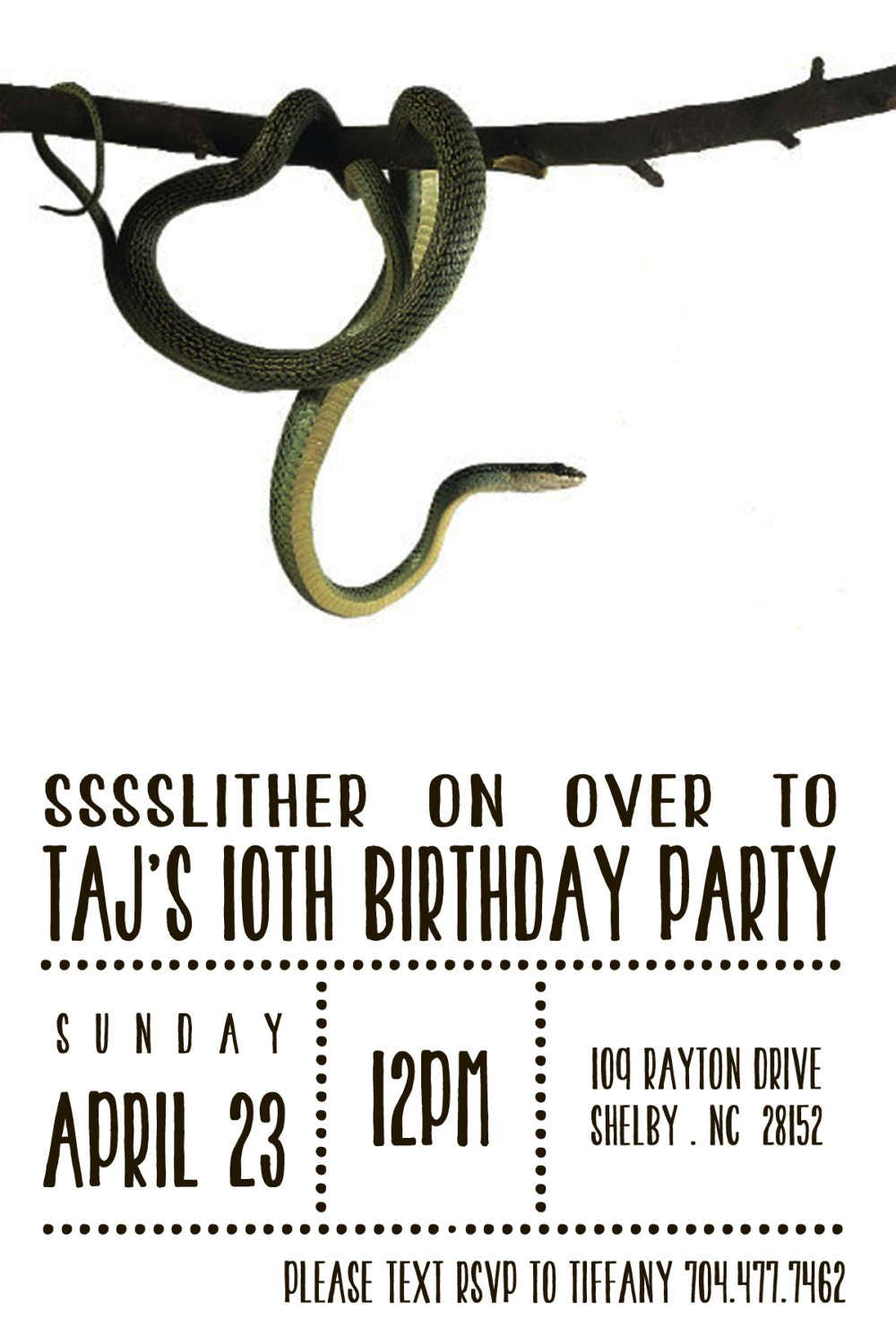 Snake Reptile Birthday Party Invitation Digital Download File | Etsy