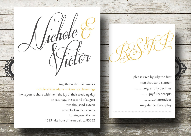 Yellow Grey Wedding Invitations: Grey And Yellow Wedding Invitation And RSVP Set Digital
