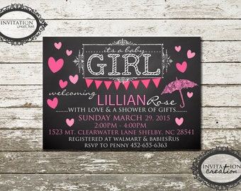 Chalkboard Pink Girl Baby Shower Invitation Digital Download File