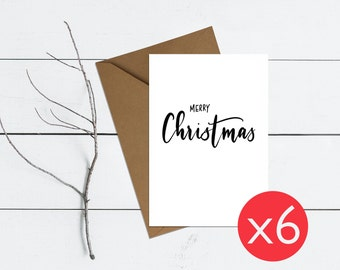 Merry Christmas | Pack of 6 Hand-lettered typographic Christmas cards