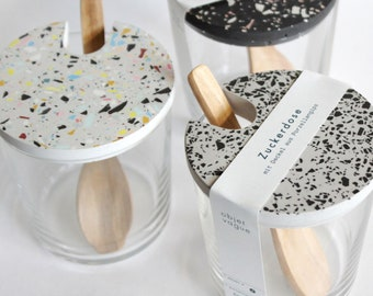 Terrazzo sugar glass with wooden spoon, grey, glasses, sugar glasses, cans, glass, handmade in Germany, VLO design, sustainable