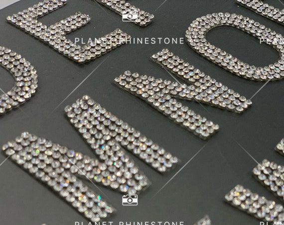 Rhinestone Iron On Letters / silver Clear  / Rhinestone patches for / DIY iron on alphabet/hot fix/ iron on letters for clothing