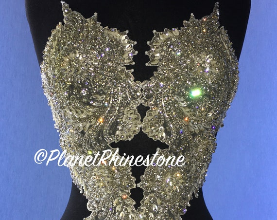 Melanie Beaded Rhinestone Angel Applique #F227