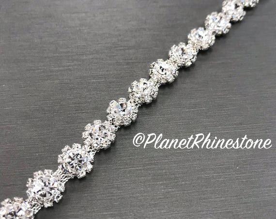 Silver Small Flower Rhinestone Trim #0104