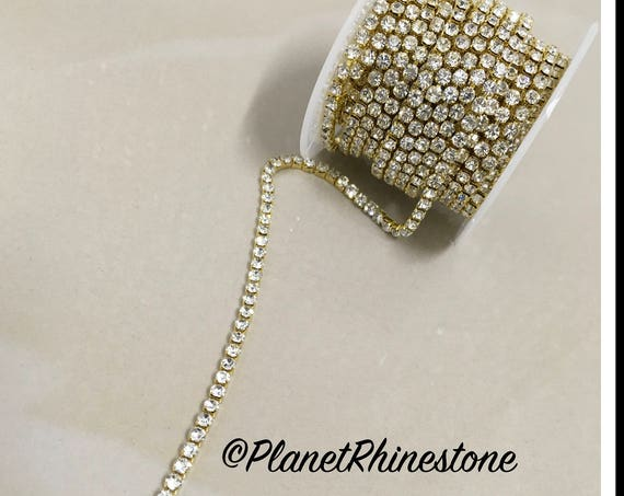 5-yard / Simple Single line SS12 / Gold / Rhinestone Trim Chain #S02