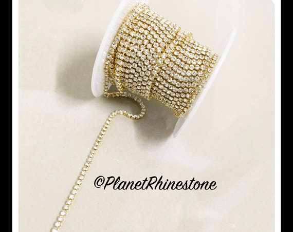 5-yard Simple Single line SS6 Gold Rhinestone Trim Chain #S01