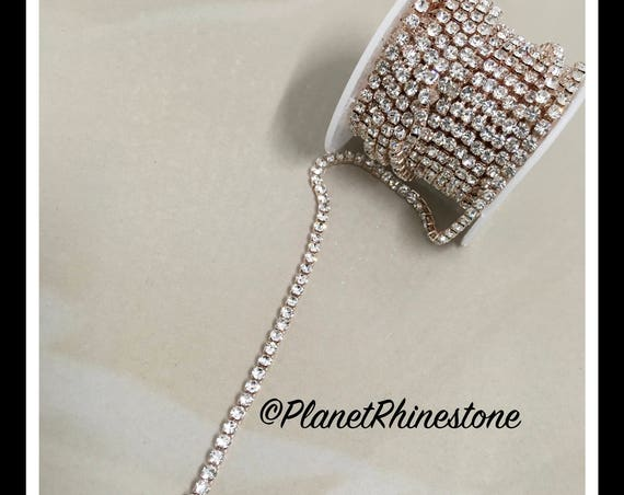 5-yard / Simple Single line SS12 / Rose Gold / Rhinestone Trim Chain #S02