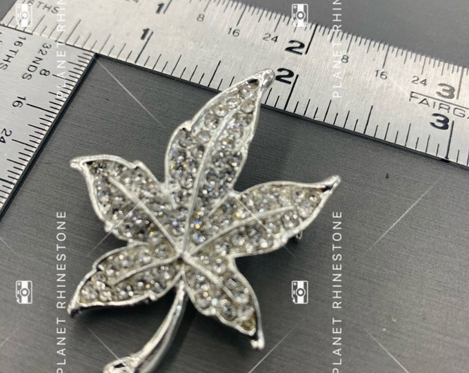 Leaf Rhinestone Brooch