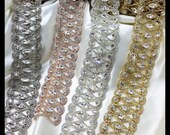 Rhinestone Bridal Sash Trim, Vintage sash (Silver, Nickle, Gold, Rose Gold, Aurora Borealis) 0101