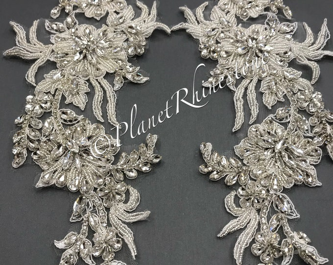Rhinestone Lace Applique Pair #LA-2/