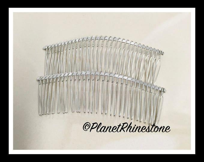 "Two Silver 4.5"" Hair Combs - DIY HAIR COMB - Metal Hair Combs - Bridal Veil Comb - Hair Fascinators - Hair accessories"