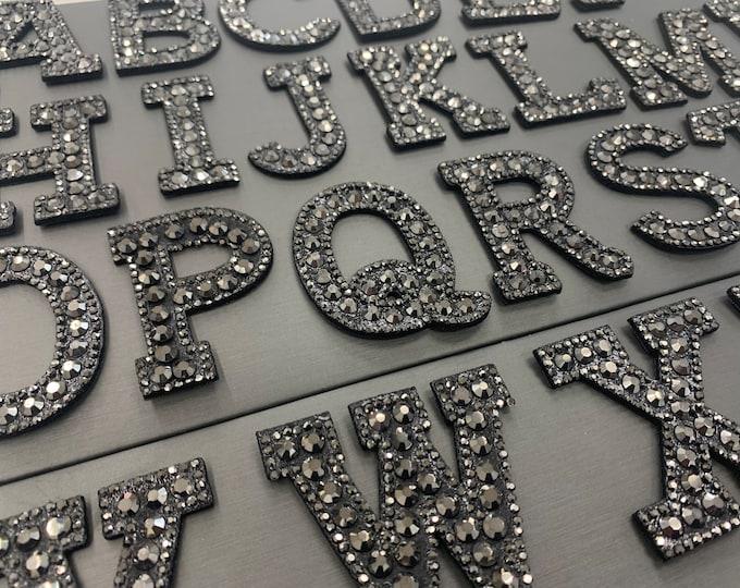 Rhinestone Iron On Letters /Black /Hematite / Rhinestone patches for  DIY /iron on alphabet beaded