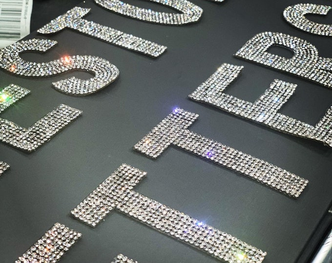 Featured listing image: Rhinestone Iron On Letters | Crystal Letter Patch