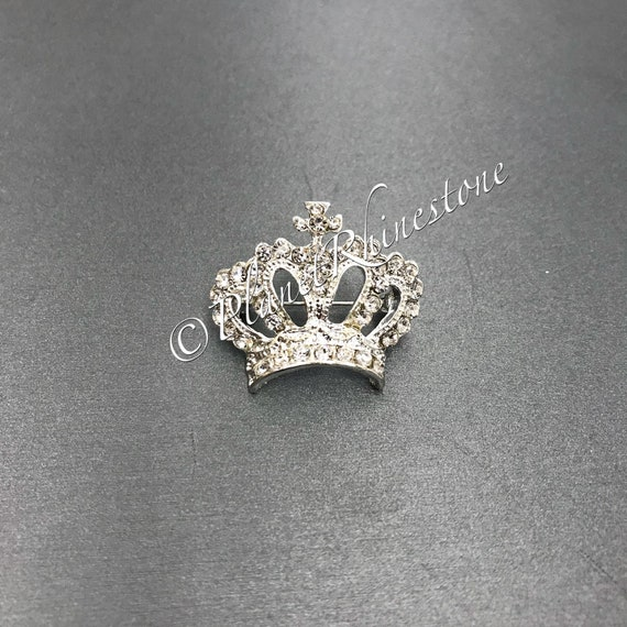 Silver Small Rhinestone Crown Brooch #BR-5