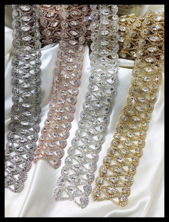 Rhinestone Bridal Sash Trim, Vintage sash (Silver, Nickle, Gold, Rose Gold, Aurora Borealis) #0101