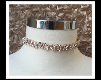 Rose Gold Crystal Choker #C107