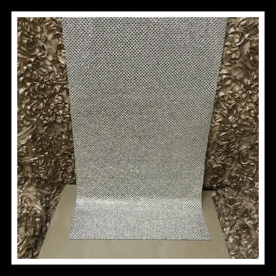 Silver Rhinestone Iron On Panel - Glass Square Rhinestone Sheets #S003