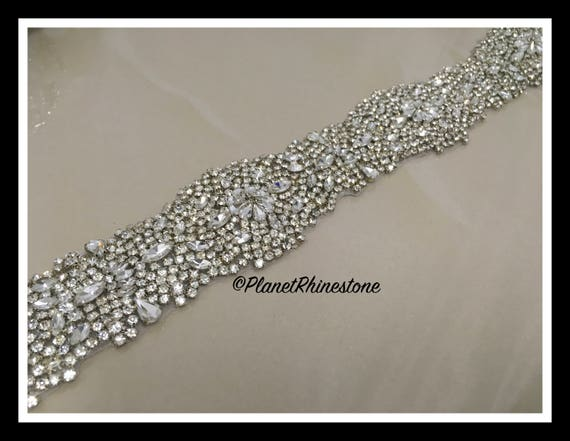 1 Thick Yard-Rhinestone Bridal Iron-0n Trim (Swarovski Shine) #I-18
