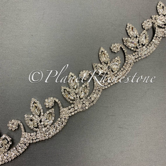 Silver Floral Crystal Trim  #T-11