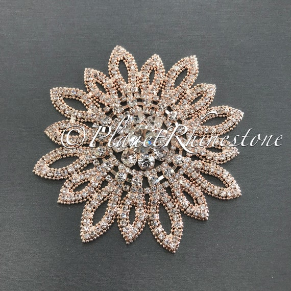 Rose gold Sunflower Crystal Applique #AS-18
