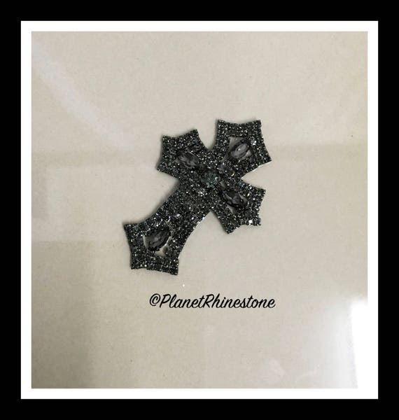 Small  - Rhinestone Cross Applique/ Swarovski Shine/ Baptism/ first communion #CR-2