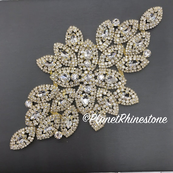 Gold Large Rhinestone Applique #A-02