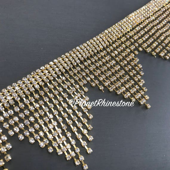Gold Large Fringe Rhinestone Trim #0529