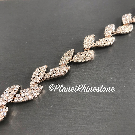 Rose Gold Rhinestone Leaf Trim #0132