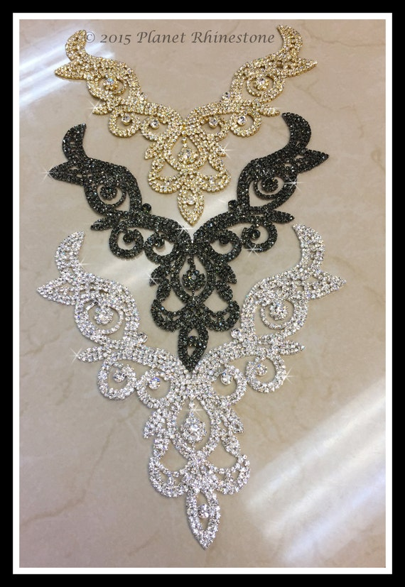 Rhinestone Necklace Applique/ Rhinestone Neckline Applique/ Bridal Applique/(Silver, Gold) ~ Swarovski Shine #0177