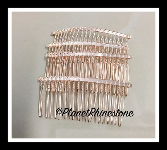 "Four Rose Gold 3"" Hair Combs - DIY HAIR COMB - Metal Hair Combs - Bridal Veil Comb - Hair Fascinators - Hair accessories - headpiece"