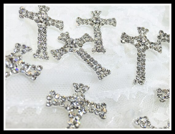 10 pcs Small Rhinestone Crosses/First communion/baptism/Favor boxes/Invitations #0166