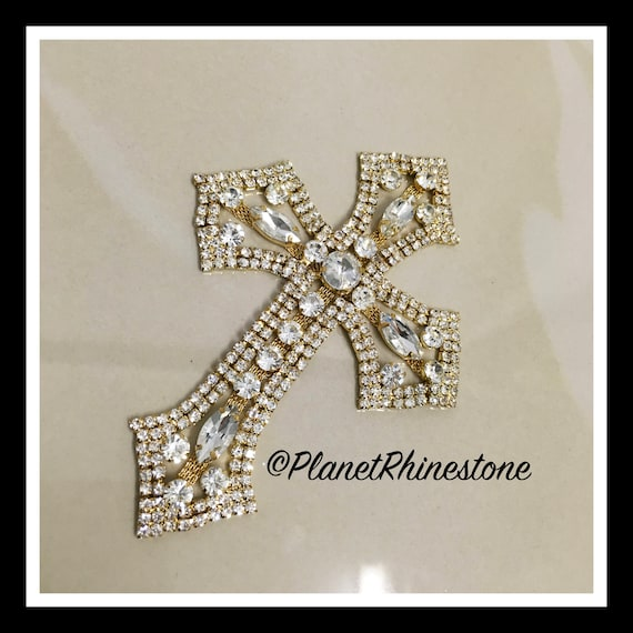 Medium  - Rhinestone Cross Applique/ Swarovski Shine/ Baptism/ first communion #CR-2