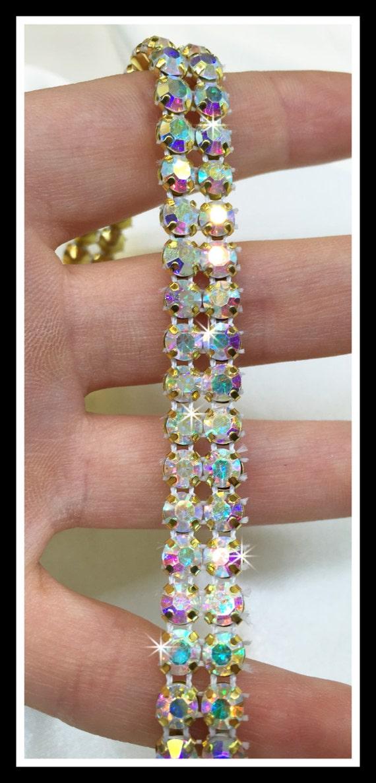 2-row (1 yard) AB  gold plated crystal rhinestone chain trim DIY wedding cake decor,  #0143