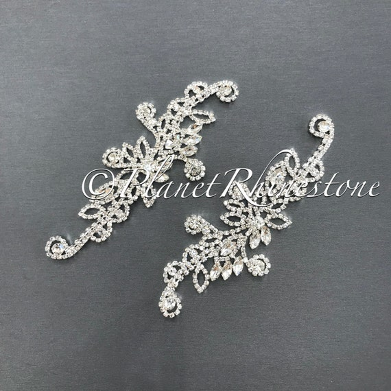 Silver Crystal Pair Applique #AS-20