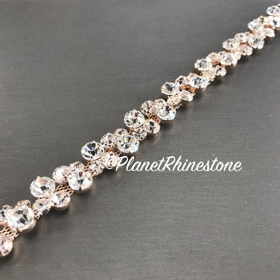 Rose Gold Thin Bridal Rhinestone Trim #0136