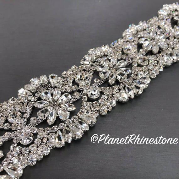 Silver 2 Inch Bridal Rhinestone Trim  #T-I
