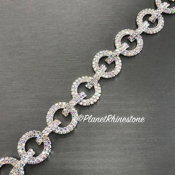 Aurora Borealis (AB) Rhinestone Chain Trim Swarovski Shine #0112