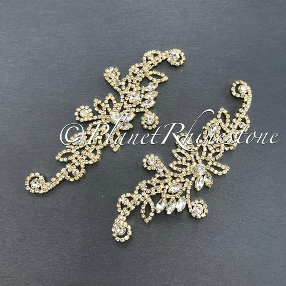 Gold Crystal Pair Applique #AS-20