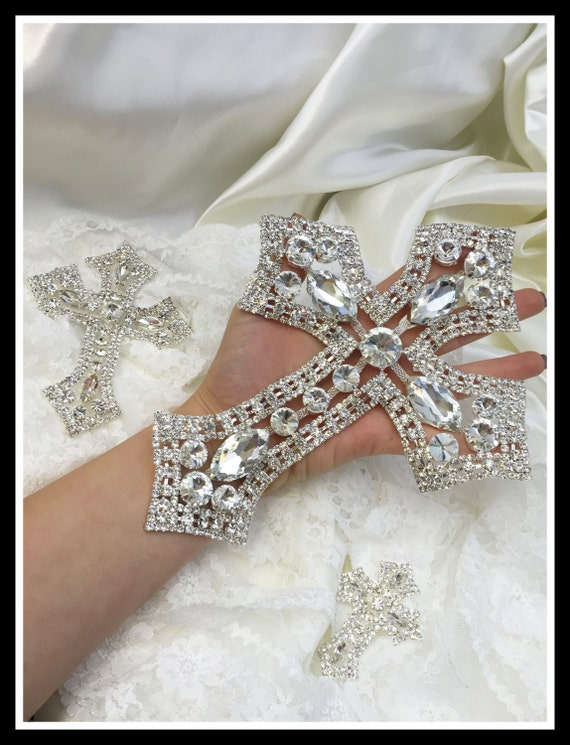 Rhinestone Cross Applique/ Swarovski Shine/ Baptism/ first communion (Gold/Silver) #0109