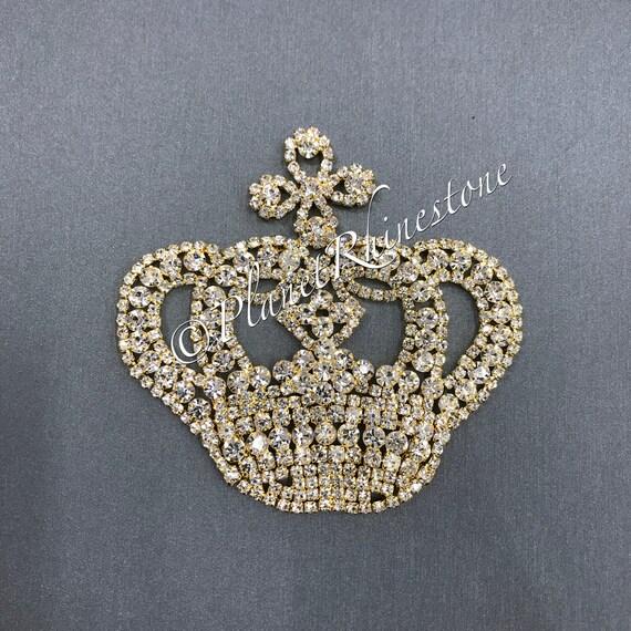 Gold Medium Rhinestone Crown Applique #AS-04